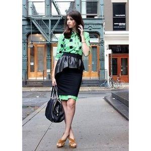 Zara Woman Black Peplum Leather Frill Pencil Skirt